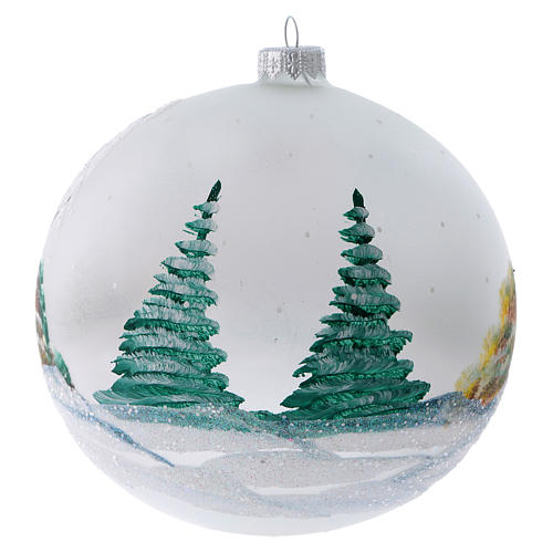 Christmas ball in painted glass snowy chalets 150 mm 3