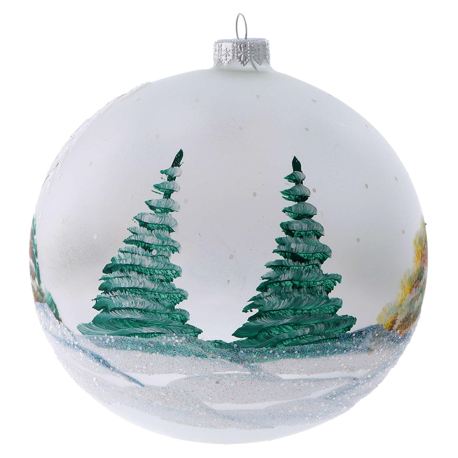 Palla Albero di Natale vetro dipinto chalet innevati 150 mm 4