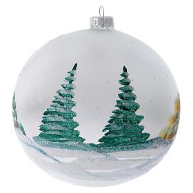Palla Albero di Natale vetro dipinto chalet innevati 150 mm s3