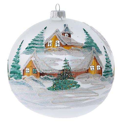 Palla Albero di Natale vetro dipinto chalet innevati 150 mm 1