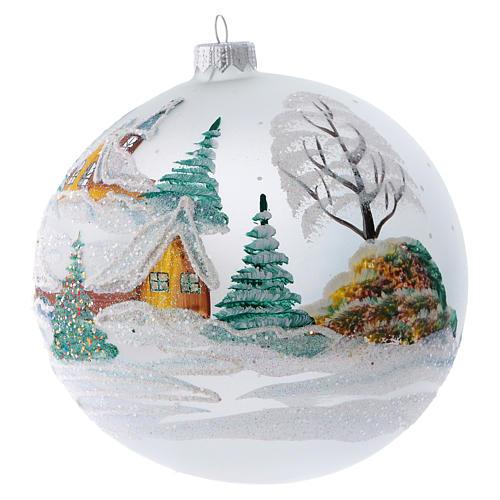 Palla Albero di Natale vetro dipinto chalet innevati 150 mm 2