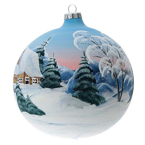 Weihnachtskugel aus Glas bemalt Motiv schneebedeckte Sennhütte 150 mm 2
