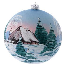 Boule sapin verre peint refuge de montagne enneigé 150 mm s2