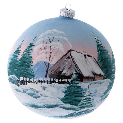Boule sapin verre peint refuge de montagne enneigé 150 mm 1