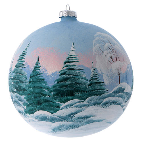 Boule sapin verre peint refuge de montagne enneigé 150 mm 3