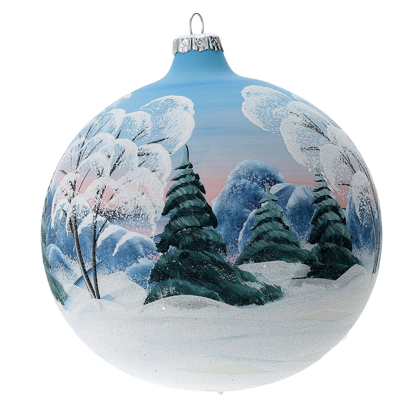 Blown glass christmas ball with snowed house and trees 15 cm 4