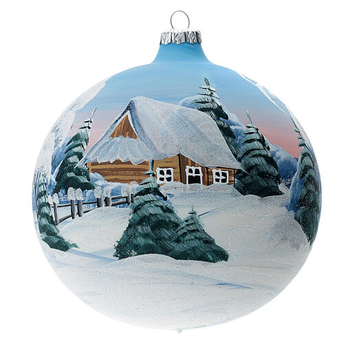 Blown glass christmas ball with snowed house and trees 15 cm 1