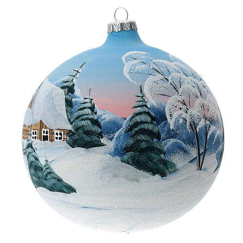 Blown glass christmas ball with snowed house and trees 15 cm 2
