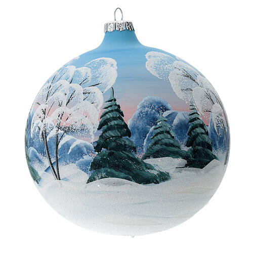 Blown glass christmas ball with snowed house and trees 15 cm 3