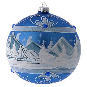 Bola Árbol de Navidad vidrio azul paisaje ártico 150 mm s2