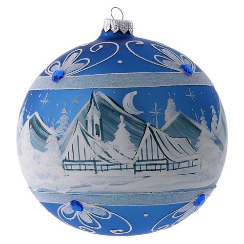 Bola Árbol de Navidad vidrio azul paisaje ártico 150 mm 1