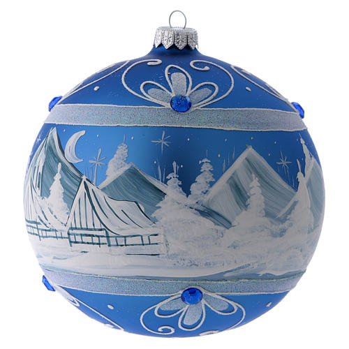 Bola Árbol de Navidad vidrio azul paisaje ártico 150 mm 2