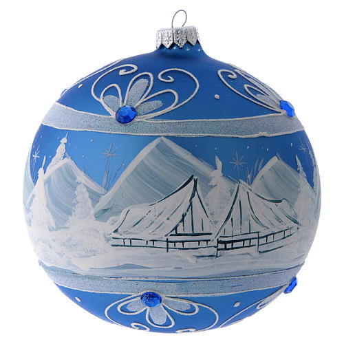 Bola Árbol de Navidad vidrio azul paisaje ártico 150 mm 3