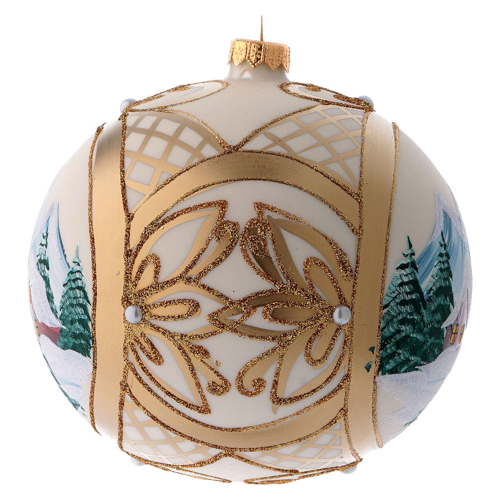 Bola vidrio de Navidad paisaje nevado en marco dorado 150 mm 4