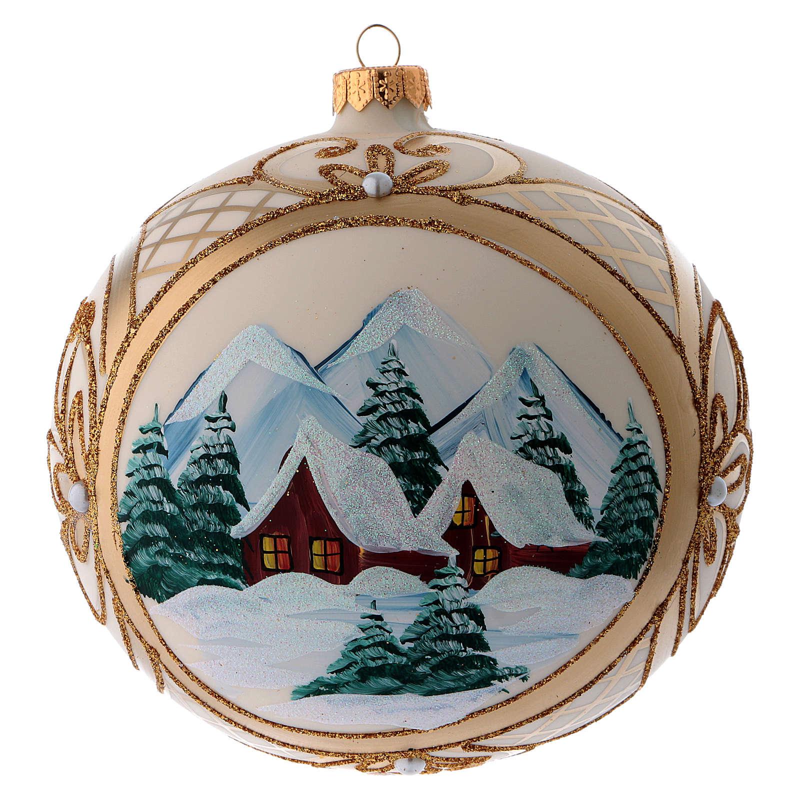 Palla vetro di Natale  paesaggio innevato in cornice dorata 150 mm 4