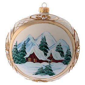 Bola vidro de Natal paisagem nevada com moldura dourada 150 mm s3