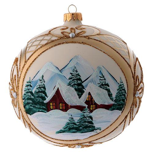 Bola vidro de Natal paisagem nevada com moldura dourada 150 mm 1