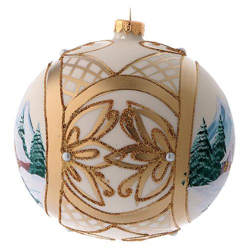 Bola vidro de Natal paisagem nevada com moldura dourada 150 mm 2