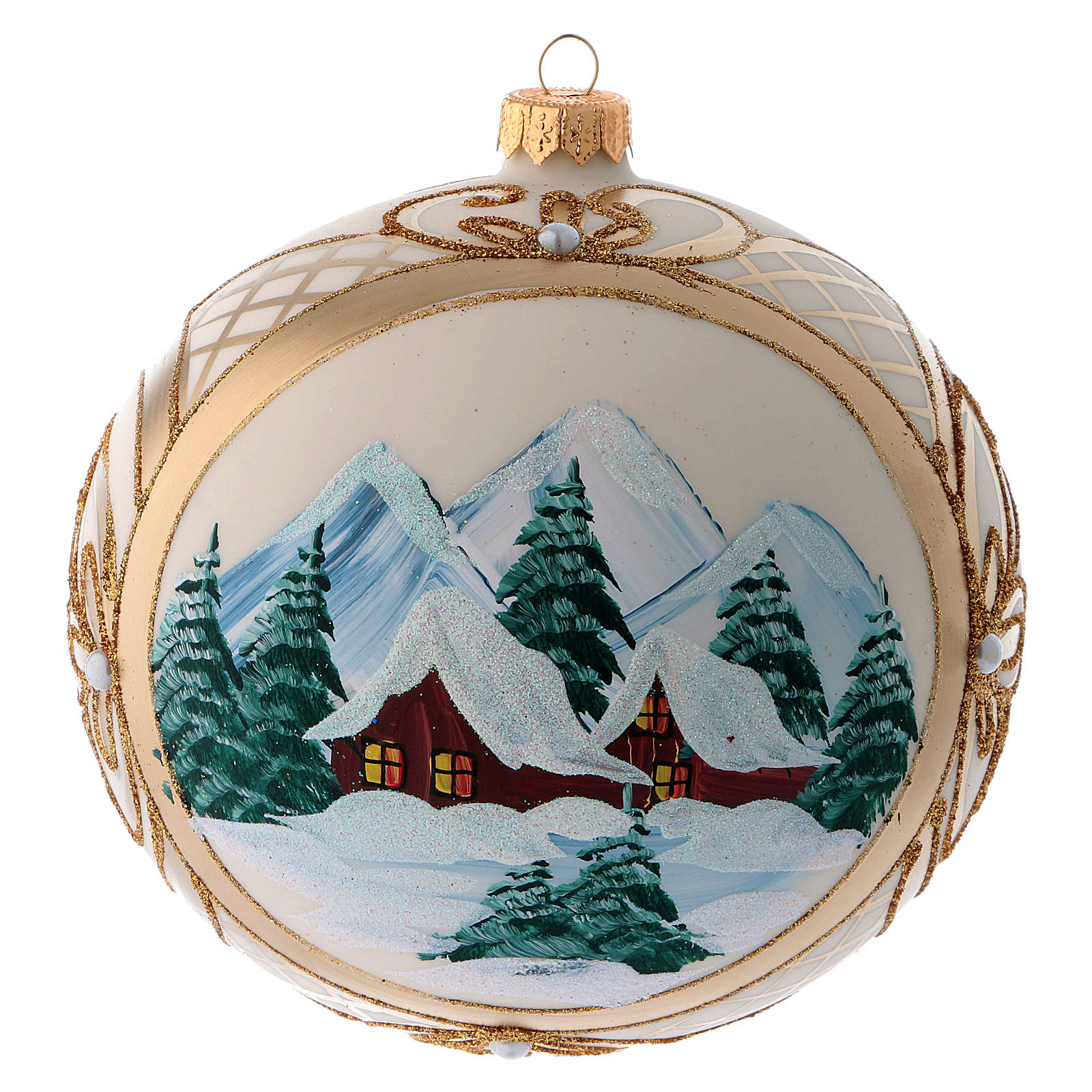 Blown glass christmas ball with snowy scenery and gold decoration 15 cm 4