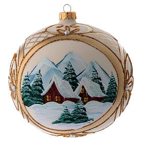 Blown glass christmas ball with snowy scenery and gold decoration 15 cm s1