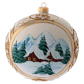 Blown glass christmas ball with snowy scenery and gold decoration 15 cm s3
