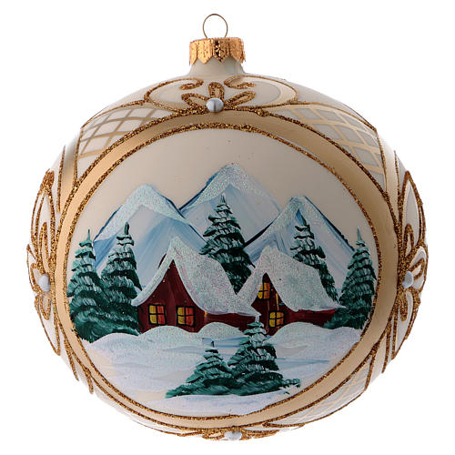 Blown glass christmas ball with snowy scenery and gold decoration 15 cm 1
