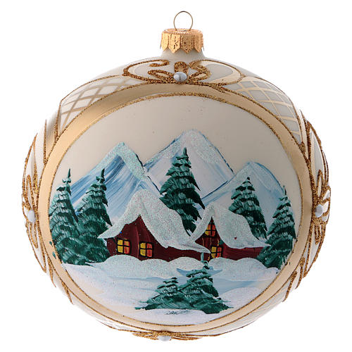 Blown glass christmas ball with snowy scenery and gold decoration 15 cm 3