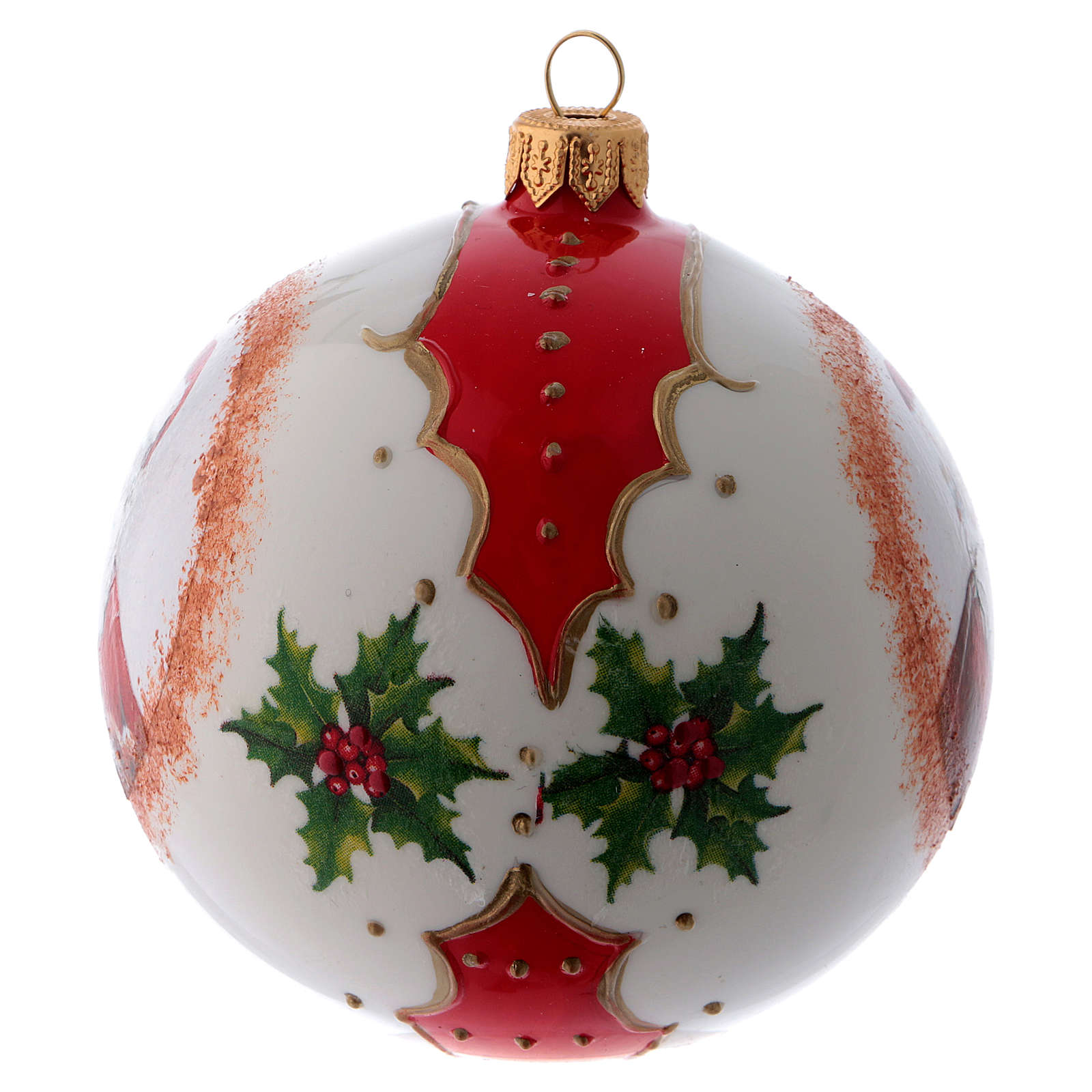 Boule verre blanc Père Noël et houx 100 mm 4