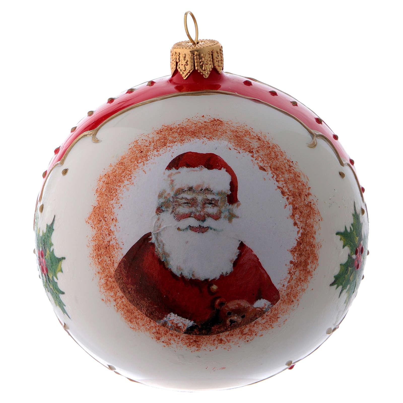 Pallina vetro bianca Babbo Natale e agrifoglio 100 mm 4