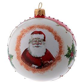 Pallina vetro bianca Babbo Natale e agrifoglio 100 mm s1
