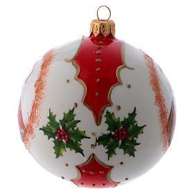Pallina vetro bianca Babbo Natale e agrifoglio 100 mm s2