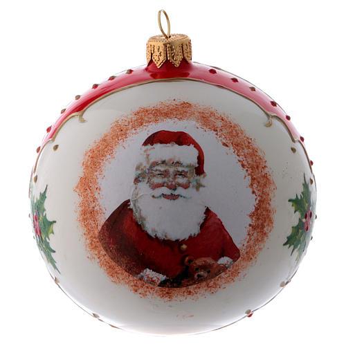 Pallina vetro bianca Babbo Natale e agrifoglio 100 mm 3