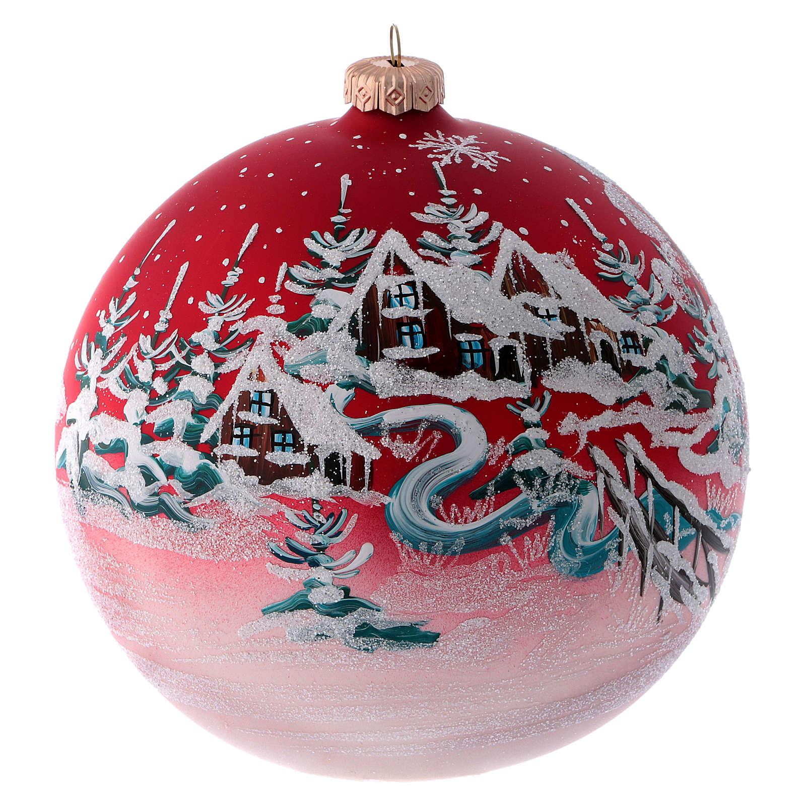 Boule pour sapin verre rouge paysage de Noël 150 mm 4