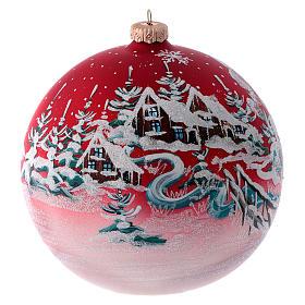 Boule pour sapin verre rouge paysage de Noël 150 mm s1