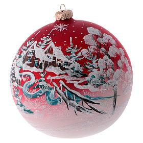 Boule pour sapin verre rouge paysage de Noël 150 mm s2