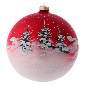 Boule pour sapin verre rouge paysage de Noël 150 mm s3