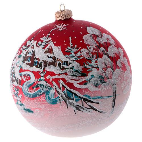 Boule pour sapin verre rouge paysage de Noël 150 mm 2