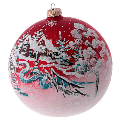 Red blown glass ball with winter scenery 15 cm 2
