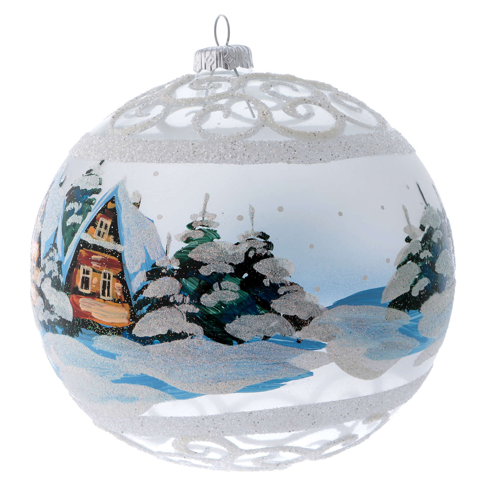 Christmas ball in transparent glass with ice and snow effect 150 mm 4