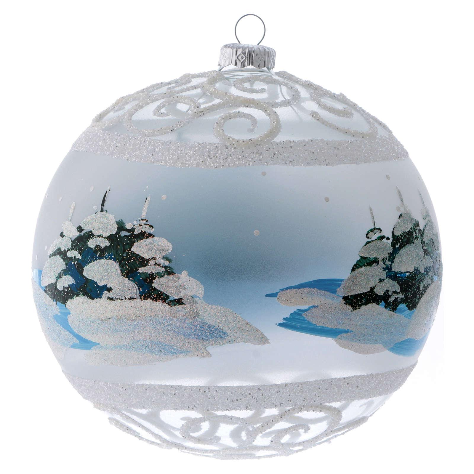 Palla Natale vetro trasparente effetto neve e ghiaccio 150 mm 4