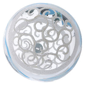 Palla Natale vetro trasparente effetto neve e ghiaccio 150 mm s4