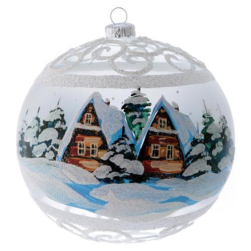 Palla Natale vetro trasparente effetto neve e ghiaccio 150 mm 1