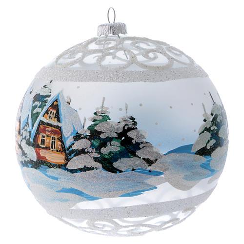 Palla Natale vetro trasparente effetto neve e ghiaccio 150 mm 2