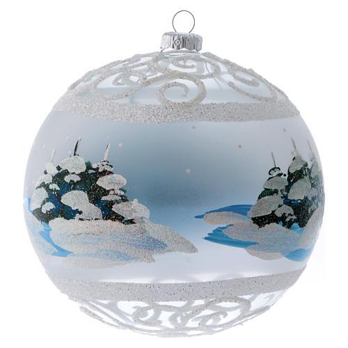 Palla Natale vetro trasparente effetto neve e ghiaccio 150 mm 3