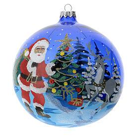 Weihnachtskugel aus transparentem blauen Glas Motiv Weihnachtsmann mit Geschenken 150 mm s1