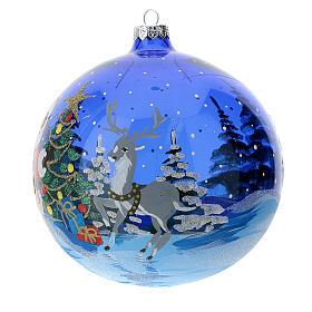 Weihnachtskugel aus transparentem blauen Glas Motiv Weihnachtsmann mit Geschenken 150 mm s2