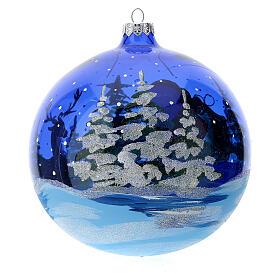 Weihnachtskugel aus transparentem blauen Glas Motiv Weihnachtsmann mit Geschenken 150 mm s3