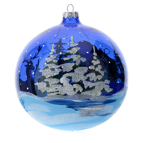 Weihnachtskugel aus transparentem blauen Glas Motiv Weihnachtsmann mit Geschenken 150 mm 3