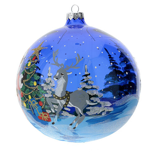 Christmas ball in blue transparent glass with Gifts by Santa Claus 150 mm 2