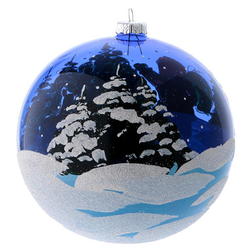 Bola Árbol vidrio azul transparente Dones de Papá Noel 150 mm 3